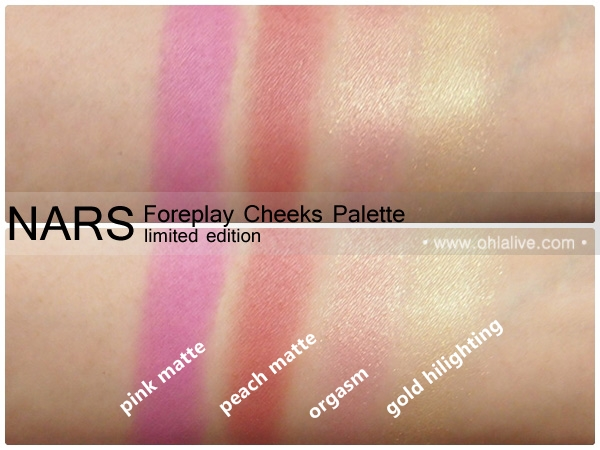 NARS Foreplay Cheeks Palette - swatched