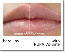 PUPA Volume Lipstick - swatched half