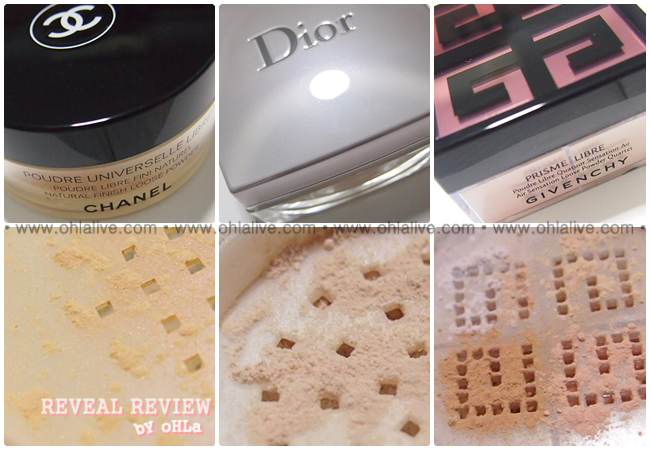 REVEAL • REVIEW by oHLa :: เปรียบเทียบแป้งฝุ่น Chanel, Dior, Givenchy