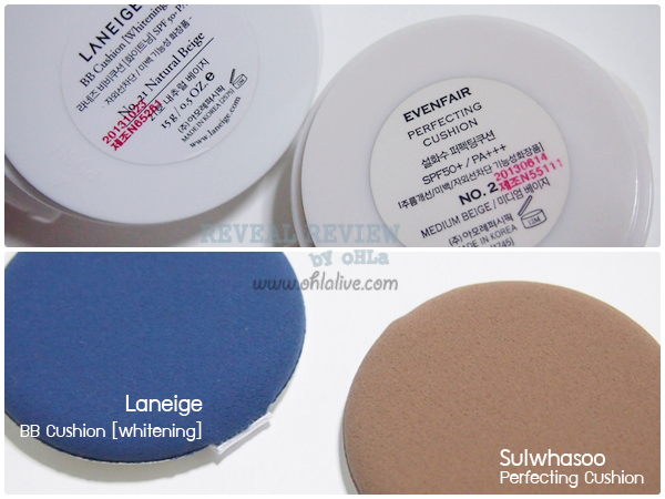 sulwhasoo perfecting cushion vs laneige bb cushion-test2