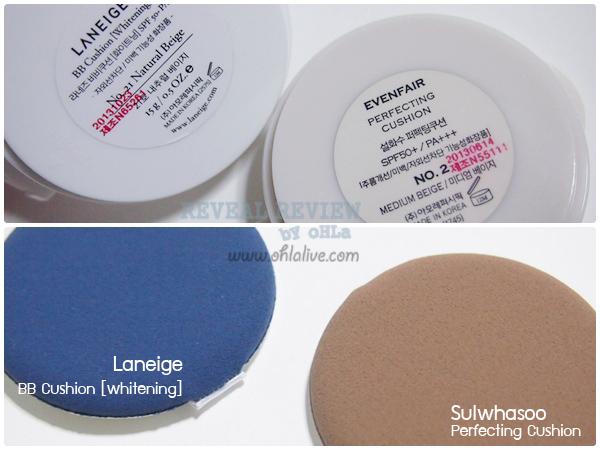 sulwhasoo perfecting cushion vs laneige bb cushion-test2