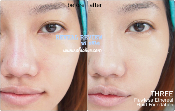 THREE Flawless Ethereal Fluid Foundation - before after
