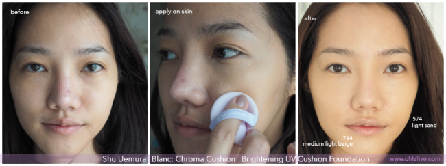 shu uemura blanc:chrome cushion - before after 1